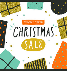 christmas sale poster flyer template vector image