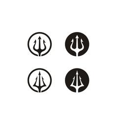 Circular trident neptune god poseidon triton logo vector