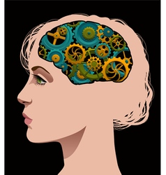 Cogs turning in the brain of a woman vector image
