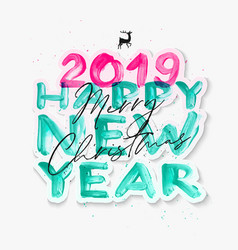 Colorful watercolor 2019 happy new year brush vector