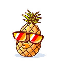 colorful yellow hipster pineapple with su vector image