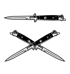Combat knives set objects or elements in vector