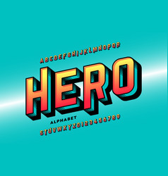 comics style super hero font alphabet letters and vector image