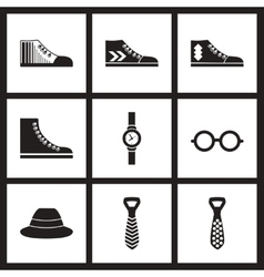 Concept flat icons in black and white Men vector