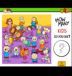 Counting children characters educational game vector