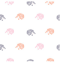 cute baby hedgehogs seamless pattern vector image