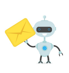 Cute happy smiling funny robot chat bot vector