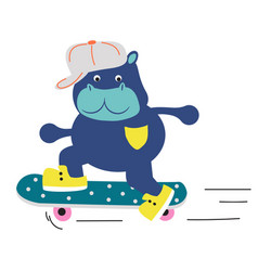 cute hippo boy rolling on a skateboard vector image