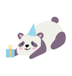 Cute panda with a gift on a vector