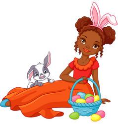 Easter girl vector