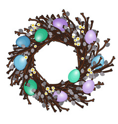 easter wreath with colorful eggs vector image
