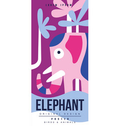 elephant birds and animals poster original design vector image