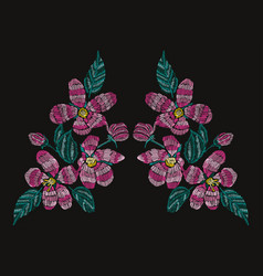 Embroidery floral decoration vector