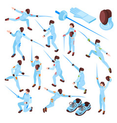 fencing sport isometric set vector image