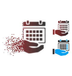 Fractured pixel halftone service timetable icon vector