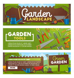 garden tools and landscape design works banners vector image