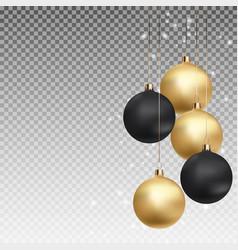 Gold and black christmas ball with ball on vector
