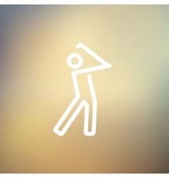 Golfer thin line icon vector image
