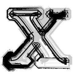 Grunge font letter x vector image