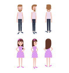 guy in casual clothes and girl in polka-dot dress vector image
