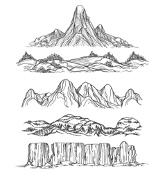 Hand drawn mountains and hills vector