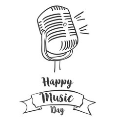 Happy music day banner style vector