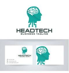 Head tech logo design vector