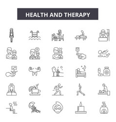 health and therapy line icons signs set vector image