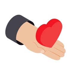 Heart in hand 3d isometric icon vector image vector image