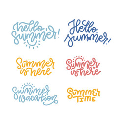 hello summer summer is heare summer time set of vector image