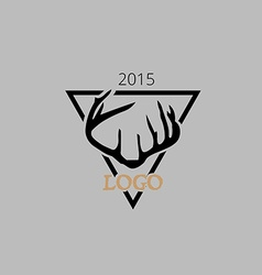 Hipster logotype antlers in triangle vector