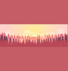 horizontal landscape with fog forest good vector image