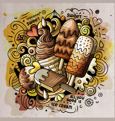 Ice cream cartoon doodle watercolor vector