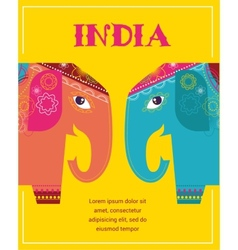 India - background with patterned elephants vector image