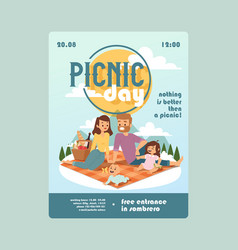 invitation to a picnic day family event vector image