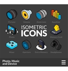 Isometric outline icons set 5 vector image