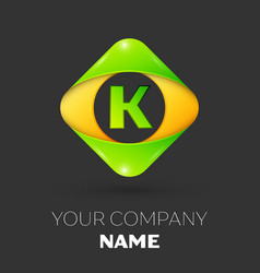 Letter k logo symbol in colorful rhombus vector
