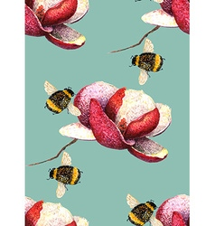 Magnolia and Bee blue green pattern vector image