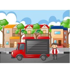 Man and red truck in the neighborhood vector