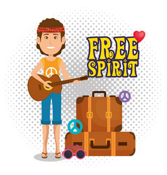 Man hippie with guitar lifestyle character vector