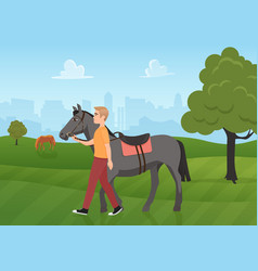 man with horse in summer green landscape jockey vector image