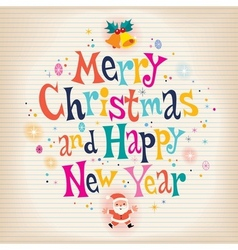 Merry Christmas and Happy New Year aged paper vector image