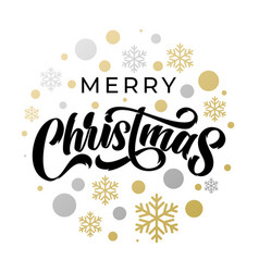 merry christmas lettering with golden silver vector image