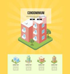 modern cozy condominium building banner vector image