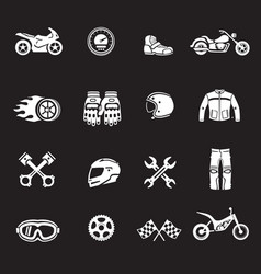 motorcycles racing icons motosport symbols vector image