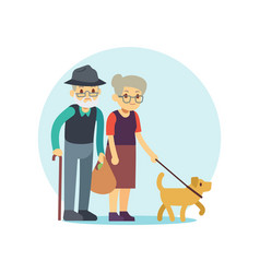 Old couple walking with cute dog eldery family vector