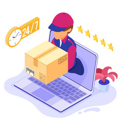 Online order package delivery service vector