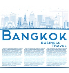Outline Bangkok Skyline with Blue Landmarks vector image