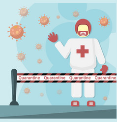 person disposable white coverall in infected area vector image