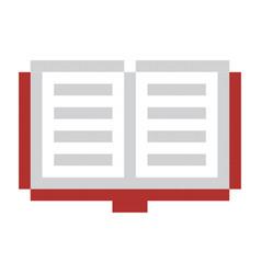 pixel book pixel art cartoon retro game style vector image